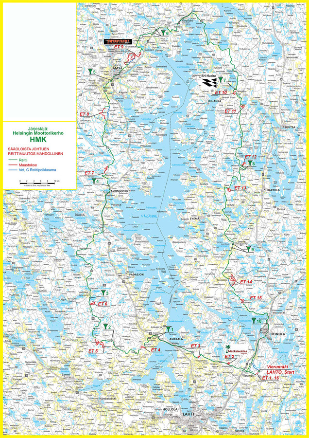 Route Map Timetable Public Paijanneajo Race Around Lake