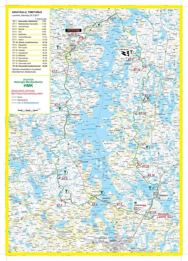 Reittikartat - Kilpailijoille - Päijänteen ympäriajo 2018